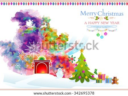Artistic water colored Christmas background - stock vector