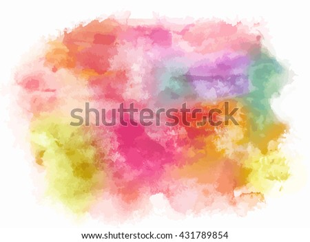 Artistic watercolor background texture with pink, purple, and other brushstrokes. Abstract paint stain. Scalable vector graphic, isolated on white. Birthday or wedding design background with copyspace - stock vector