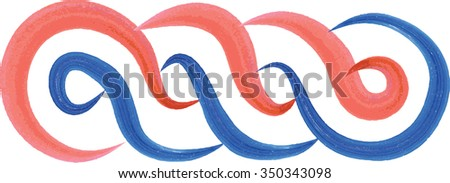 Artistic watercolor style Croatian interlace or wattle, in red, white and blue, national color of Croatia. Medieval ornament, decorative graphic element. - stock vector