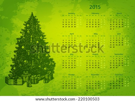 Artistic 2015 year vector calendar. Hand drawn fir tree with presents