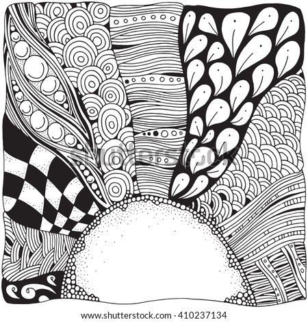 Artistically dawning. The Sun is rising.  Black and white monochrome pattern. Zentangle. Black and white pattern in vector. Doodle. Tribal. Hand-drawn. Coloring book page for adult. - stock vector