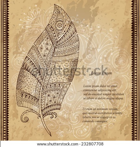 Artistically drawn, stylized vector tribal graphic feather with hand drawn swirl doodle pattern. Grunge background. Illustration is created from a personal sketch by trace. Series of doodle feather. - stock vector