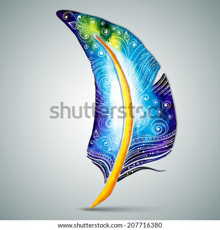 Artistically drawn, stylized, vector watercolor feather with hand drawn swirl doodle pattern. Vintage tribal feather. Illustration is created from a personal sketch by trace. Series of doodle feather. - stock vector