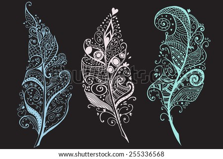 Artistically Hand Drawn, stylized, vector Feathers set - stock vector