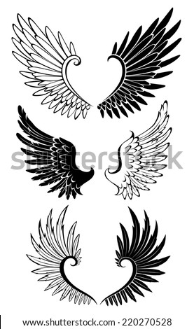 Artistically painted black and white wings for tattoo. - stock vector
