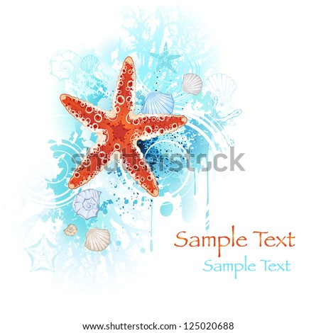 artistically painted red starfish with sea shells and coral blue on a white background.