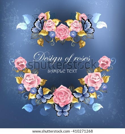 artistically painted the garland of roses, violets blue with blue butterflies on blue textural background. Design of roses.