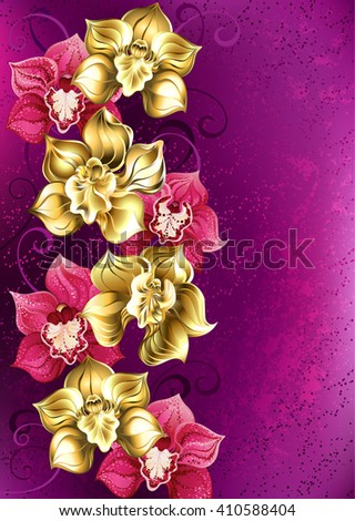 artistically painted yellow and pink orchid on pink textural background. Design of orchids. Floral design.