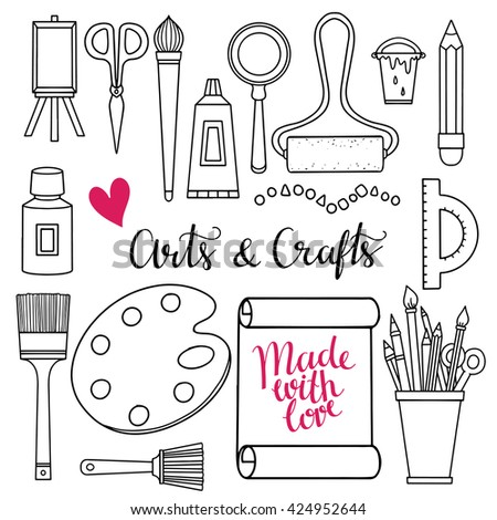 Arts And Crafts Hand Drawn Supplies Tools Design Elements Icons Set Isolated On