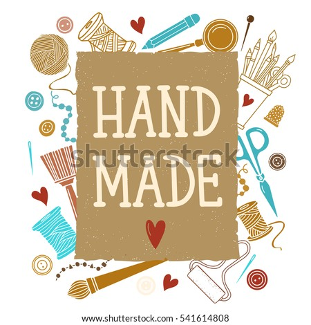 Handmade crafts stock images royalty free images for Arts and crafts logo