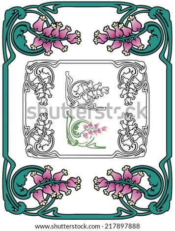 Arts and Crafts style border of leaves, vines, and fantasy blossoms - stock vector