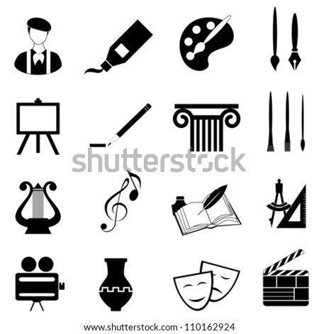 Arts icon set in black - stock vector