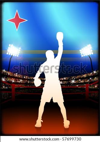 Aruba Flag with Boxer on Stadium Background Original Illustration - stock vector