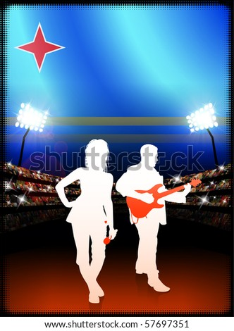 Aruba Flag with Live Music Band on Stadium Background Original Illustration - stock vector