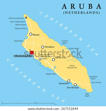 Aruba Political Map With Capital Oranjestad And Important Cities English Labeling And Scaling Ilration