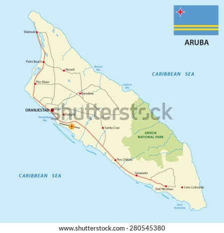 aruba road map with flag - stock vector