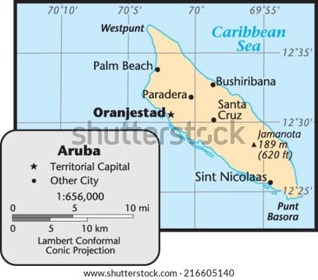 Aruba Territory Map - stock vector