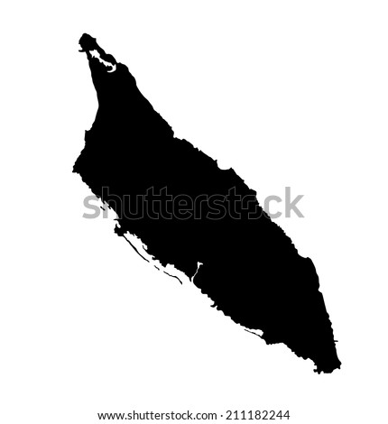Aruba vector map high detailed silhouette illustration isolated on white background.