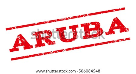 Aruba watermark stamp. Text Tag between parallel lines with grunge design style. Rubber seal stamp with scratched texture. Vector red color ink imprint on a white background.