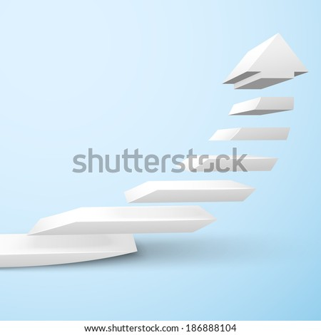 Ascending upward staircase arrow symbol rising moving improvement concept vector illustration - stock vector