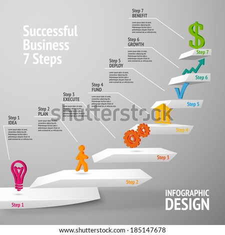 Ascending upward staircase successful business seven steps concept infographic vector illustration - stock vector