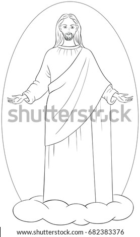 Ascension Of Jesus Christ In White Robes Standing On A Cloud With Arms Open Coloring  Page