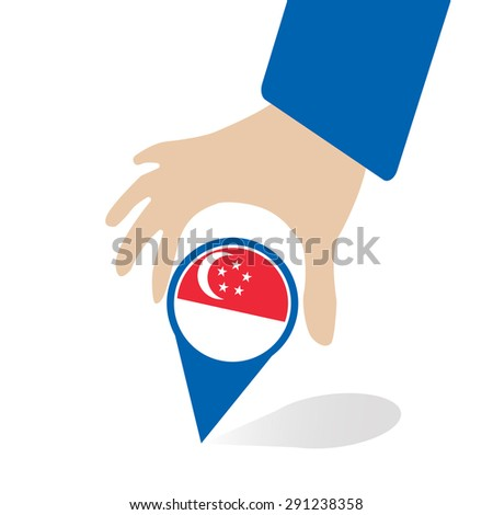 ASEAN Economic Community, AEC in businessman hand pin with Singapore, for design present in vector - stock vector