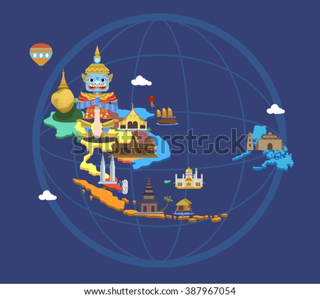 Asean map and tourist attractions with tablet. - stock vector