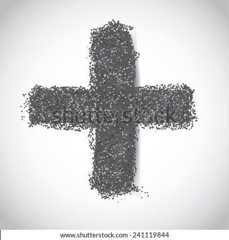 Ash Wednesday cross of ashes  EPS 10 vector stock illustration - stock vector