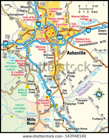 Asheville North Carolina Area Map Stock Vector 143948140 Shutterstock