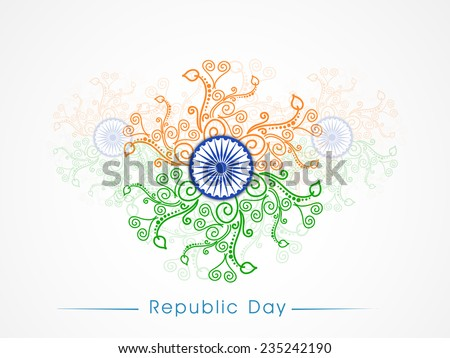 Ashoka Wheel surrounded by saffron and green floral design for Indian Republic Day celebrations. - stock vector
