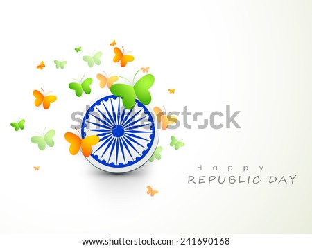 Ashoka Wheel with national flag color butterflies for Happy Indian Republic Day celebration. - stock vector