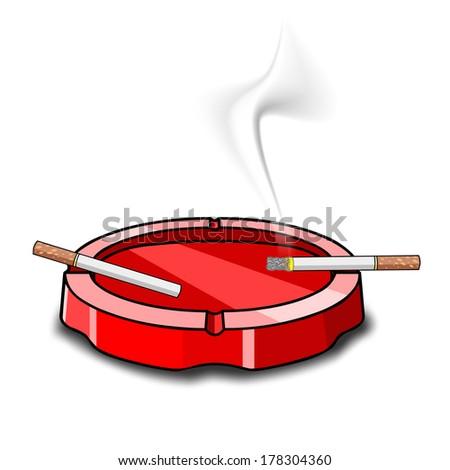 ashtray on white background - stock vector