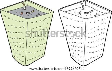 Ashtray with extinguished cigarette butts on white background - stock vector