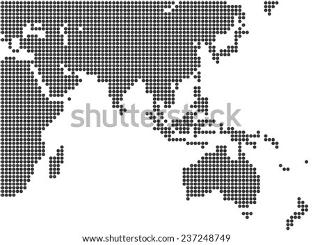 asia and australia dotted map template vector