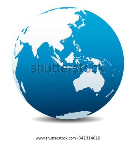 Asia and Australia, Global World - stock vector