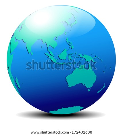 Asia and Australia, Globe World - The base map is from NASA and traced by hand using the pen tool and a tablet pen for maximum detail - stock vector