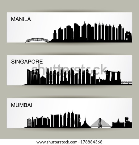 Asia Cities skylines - vector illustration