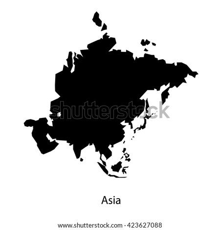 Asia continent black vector - stock vector