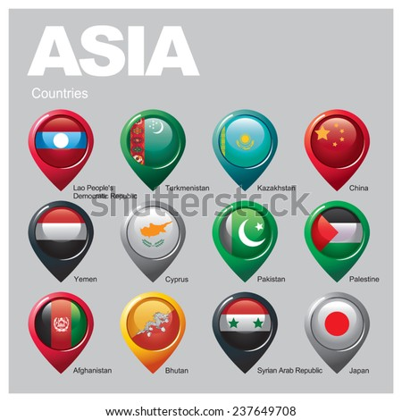 ASIA Countries - Part One - stock vector