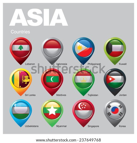 ASIA Countries - Part  Two - stock vector
