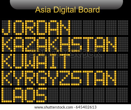 Asia Country Digital Board Information