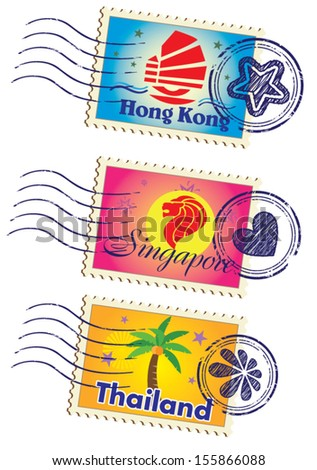 Asia country stamp icon set - stock vector