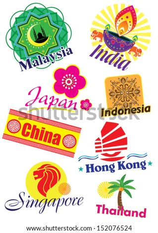 Asia country travel icon set - stock vector