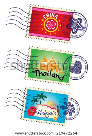 Asia country travel landmark stamp set (vector) - stock vector