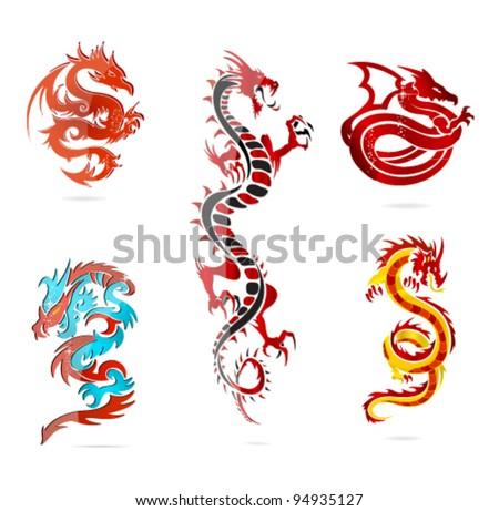 asia dragons set - stock vector