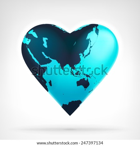 Asia earth globe shaped as heart at modern graphic design isolated vector illustration on white background  - stock vector