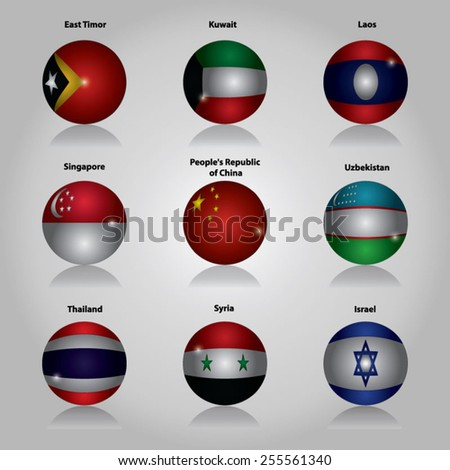Asia Flags Buttons - stock vector
