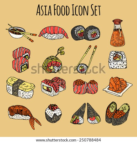 Asia food sketch decorative icon colored set with sushi and rolls isolated vector illustration
