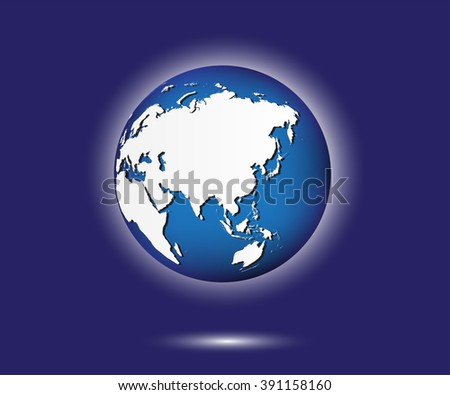 Asia globe. Earth globe vector illustration.